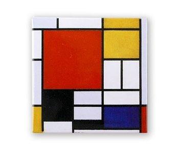 Koelkastmagneet, Compositie met groot rood vlak, Mondriaan