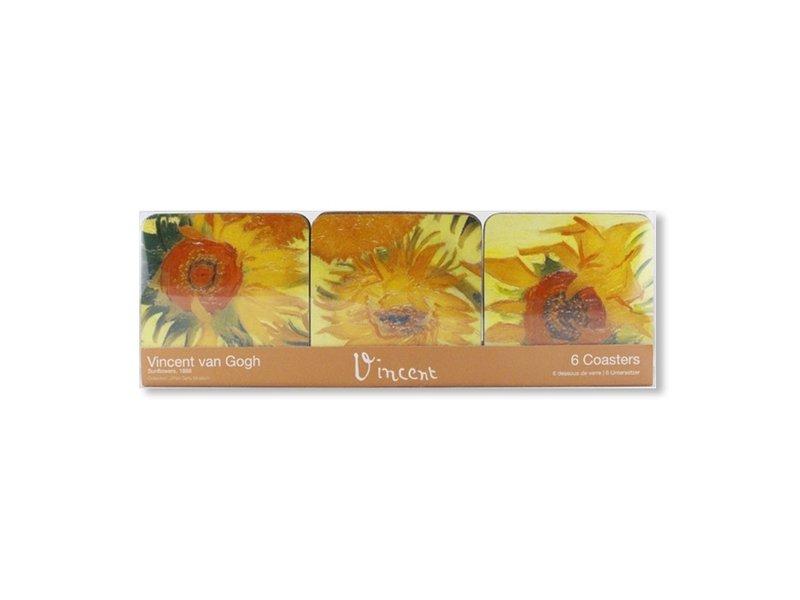 Coastersset van 6, Sunflowers, Van Gogh