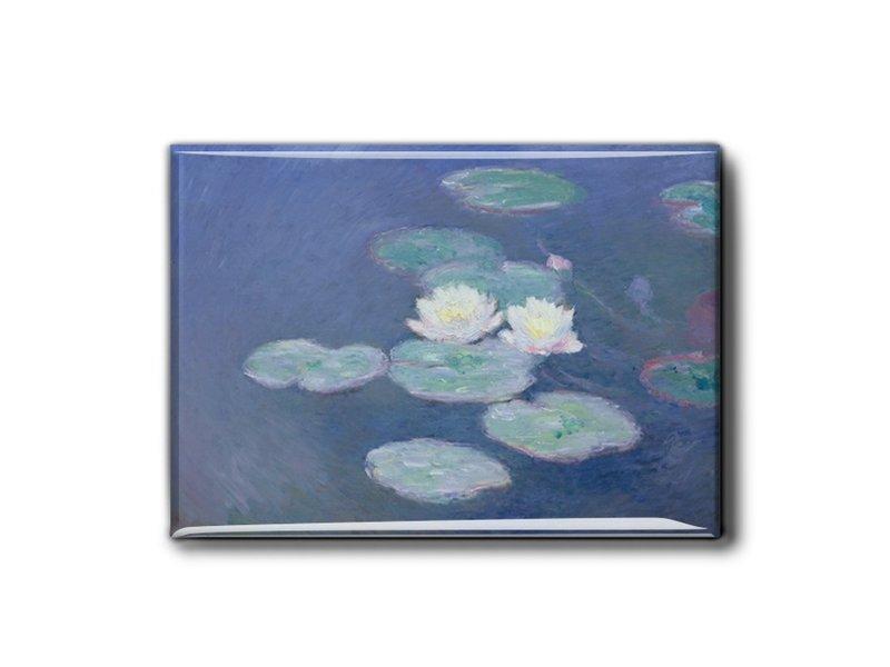 Imán de nevera XL, nenúfares en la luz del atardecer, Monet