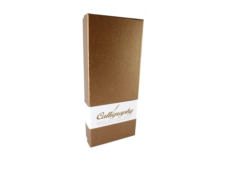 Quillpen Ink Set, goldbrown colour box with phaesant feather