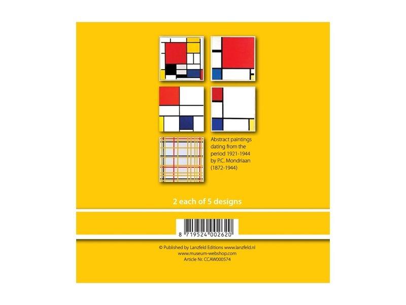 Kaartenmapje , set van 10 kaarten, Mondriaan