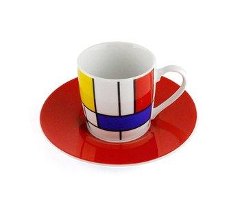 Espresso kop en schotel, Mondriaan Hommage rood