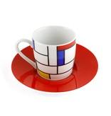 Espresso mok Mondriaan Hommage rood