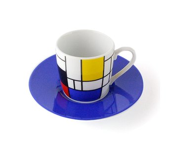 Espresso cup and saucer Mondrian blue