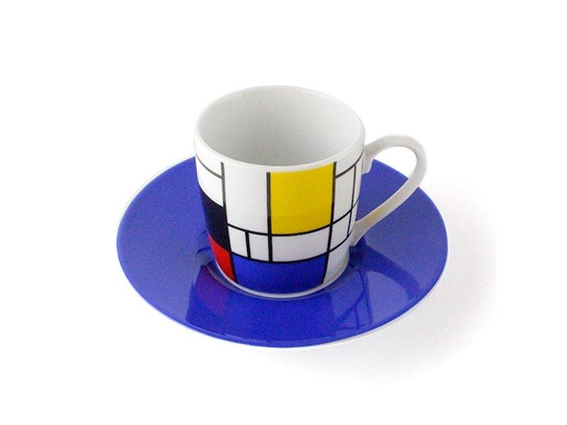 Espresso kopje  en schotel Mondriaan blauw