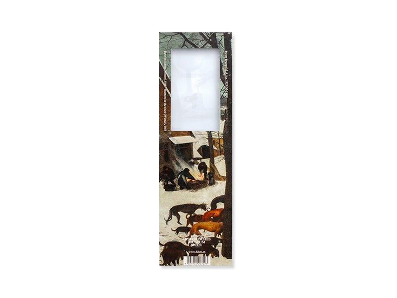 Boekenlegger met loep, Bruegel, Jagers in de sneeuw