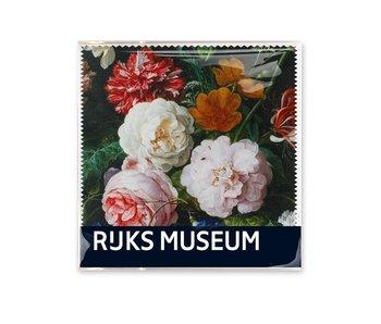 Chiffon à lunettes, 15x15, De Heem, Vase avec fleurs, (Rijksmuseum)