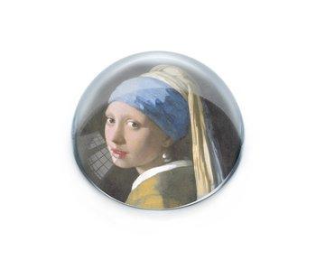 Glazen bolle  presse papier, Vermeer, Meisje met de parel