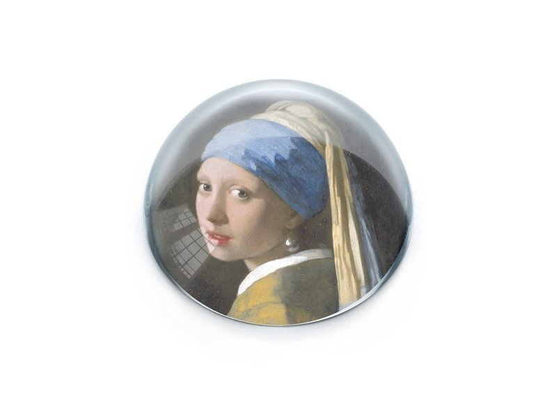 Presse-papier convexe en verre, Vermeer, Fille avec une boucle d'oreille en perle