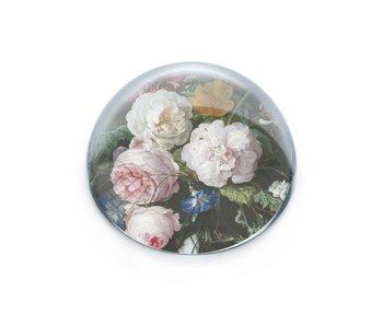 Presse-papiers convexe en verre, De Heem, Vase avec fleurs