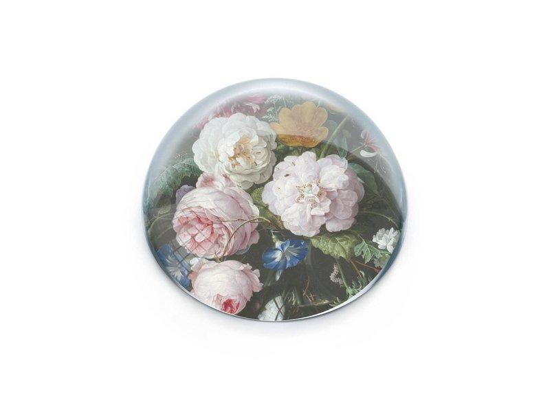 Pisapapeles de vidrio convexo, De Heem, Florero con flores