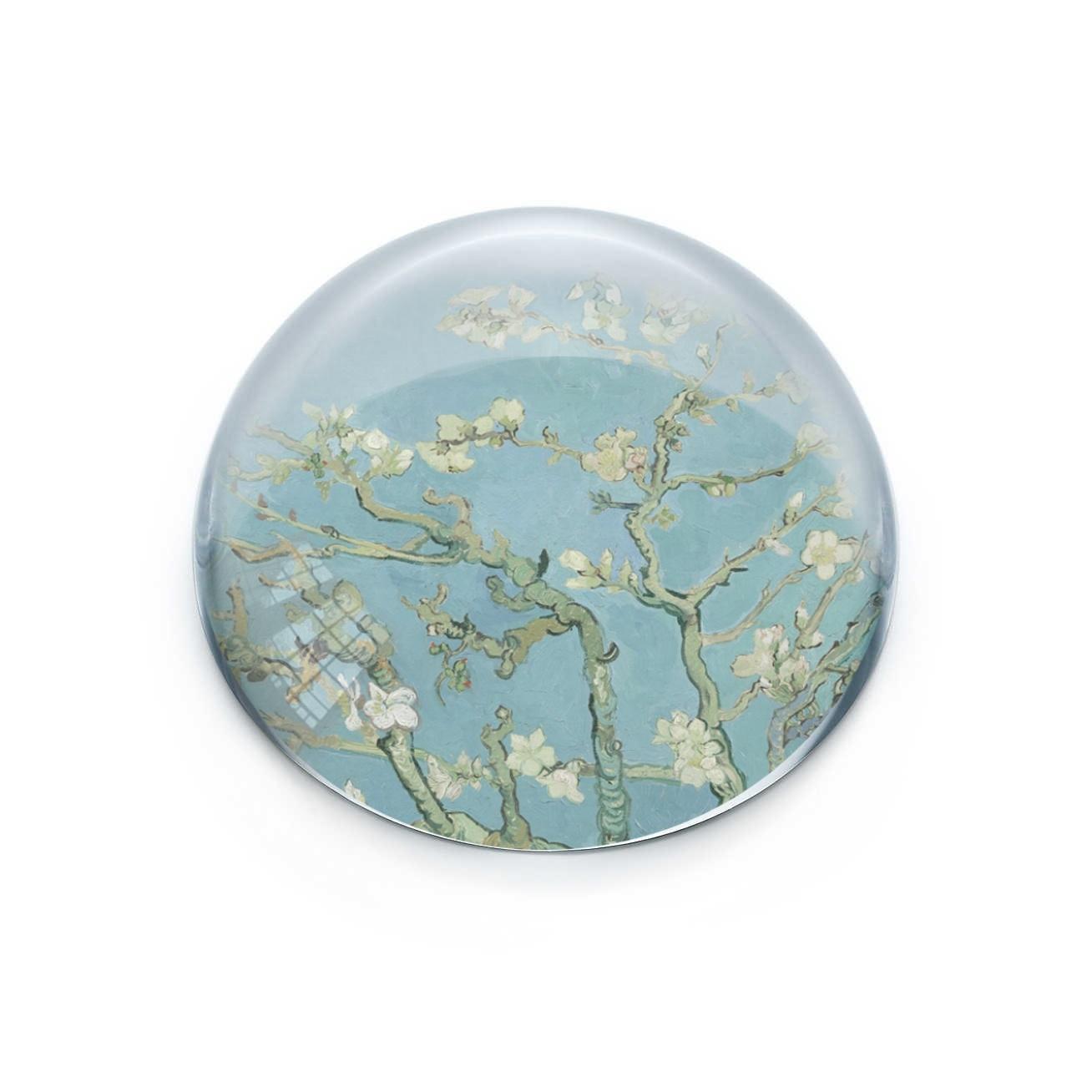 Presse papiers convexe en verre, Van Gogh, Fleur d'amandier