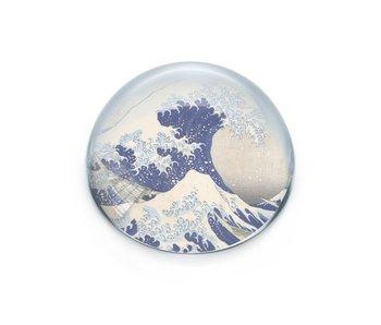 Glazen bolle  presse papier,  Hokusai Grote Golf