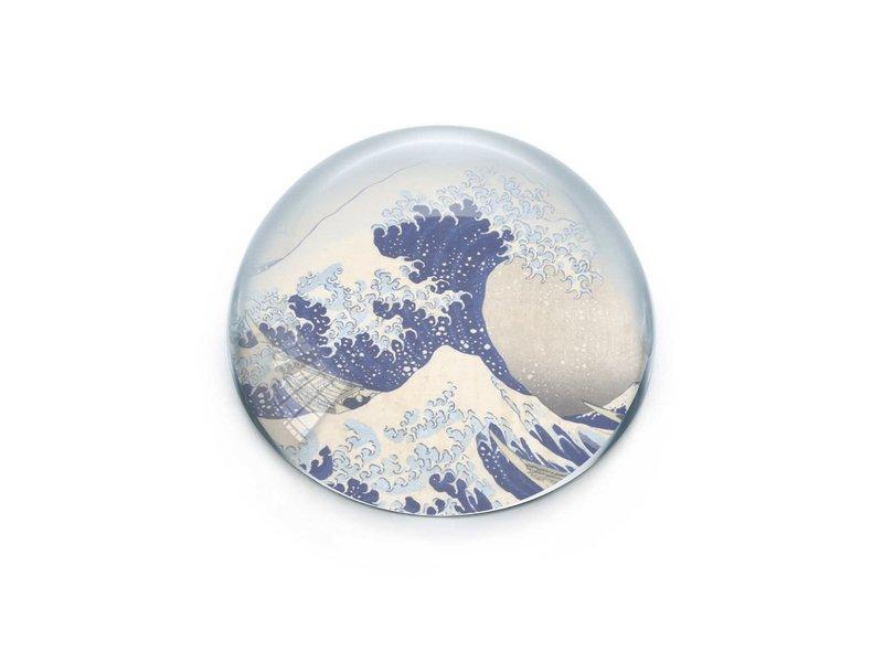 Glazen bolle presse papier,  Hokusai, De Grote Golf
