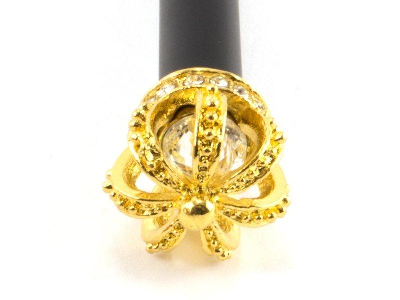 Zwarte ballpen met gouden kroon