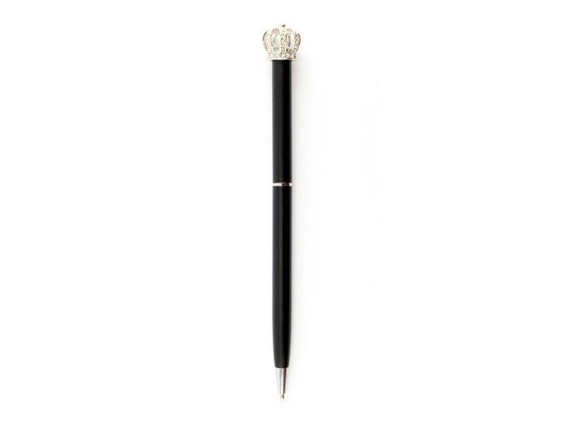 Bolígrafo negro con corona plateada