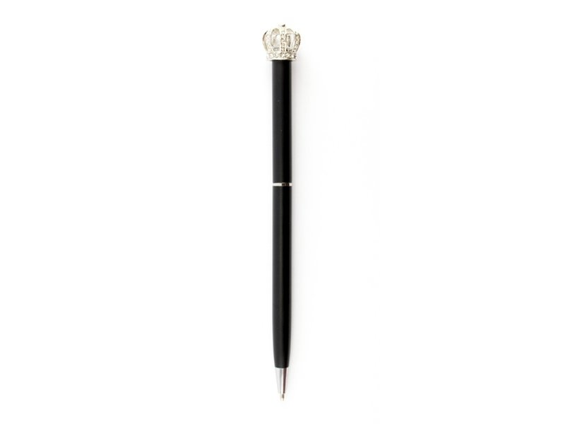 Zwarte pen met zilveren kroon