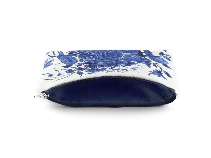 Pencil case / make-up bag, Delft blue birds, Rijksmuseum