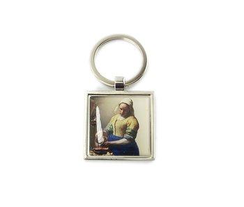 Porte-clés SQ, métal argenté, Laitière Vermeer