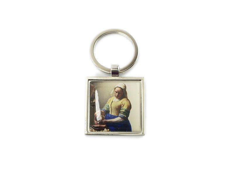 Sleutelhanger SQ, silverkleurig metaal, Melkmeid Vermeer