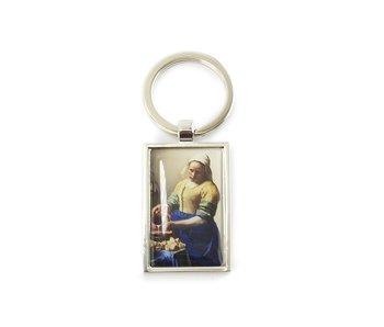 Llavero RT, metal plateado, Lechera Vermeer