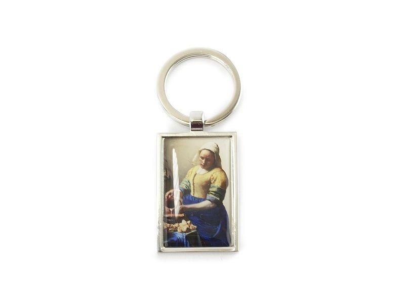 Sleutelhanger RT, silverkleurig metaal, Melkmeid Vermeer