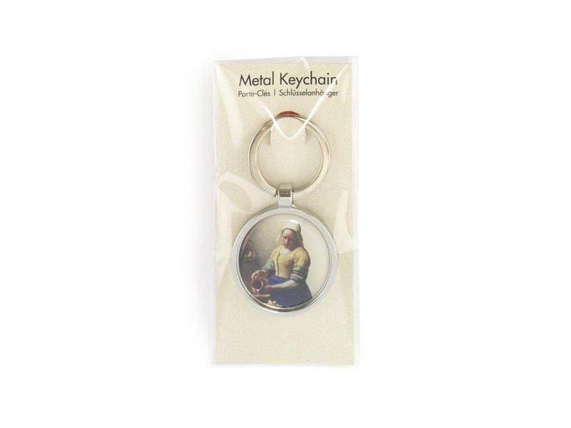 Sleutelhanger RND, silverkleurig metaal, Melkmeid Vermeer