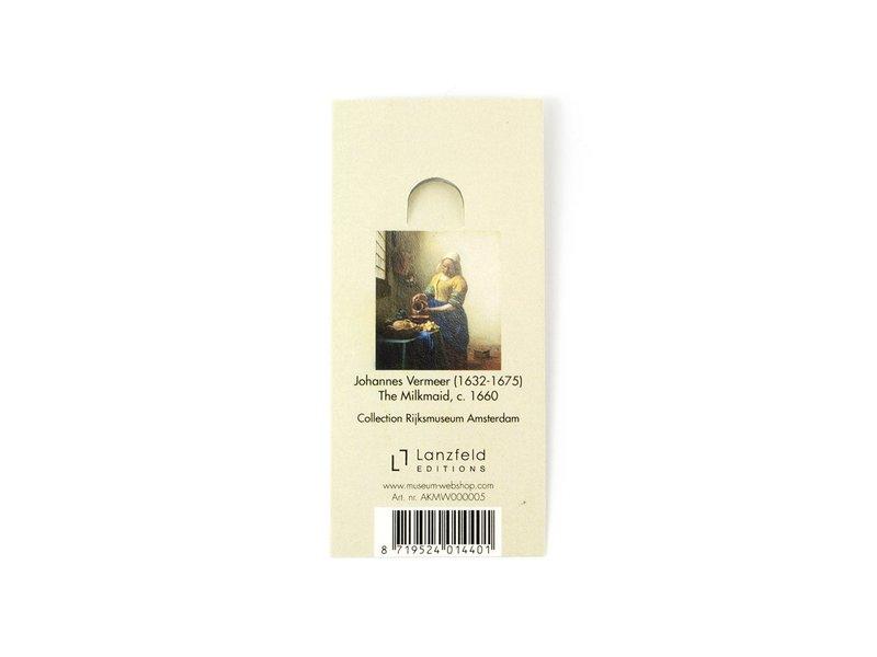 Sleutelhanger rond, goudkleurig metaal, Melkmeid Vermeer
