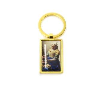 Sleutelhanger RT, goudkleurig metaal, Melkmeid Vermeer