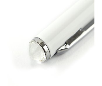 Bolígrafo blanco, con cristal