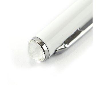 Weißer Kugelschreiber mit Kristall