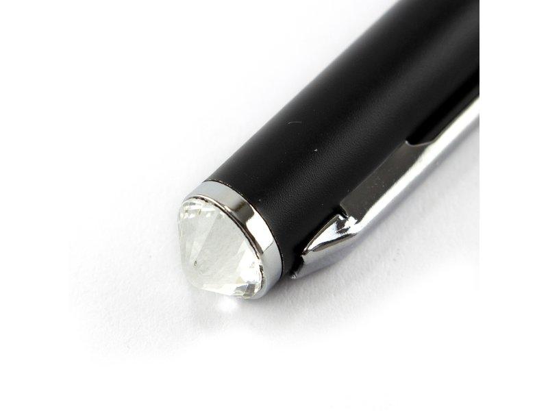 Bolígrafo negro, con cristal