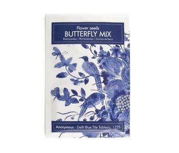 Carte postale avec graines de fleurs à papillons, oiseaux bleus de Delft