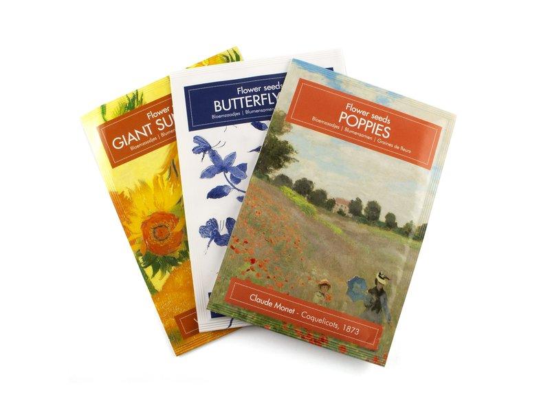 Postkaart met Vlindermix zaadjes, Delfts blauwe vogels