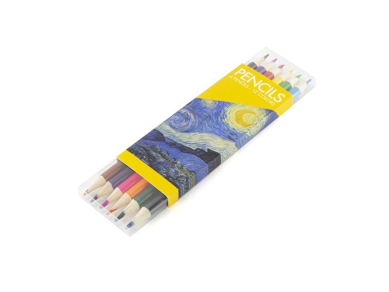 Ensemble de crayons de couleur, Van Gogh, Nuit étoilée