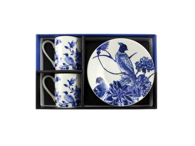 Espresso set , Delftware birds, Rijksmuseum
