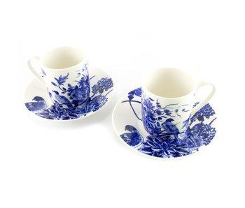 Espresso set, Delfts blauwe vogels, Rijksmuseum