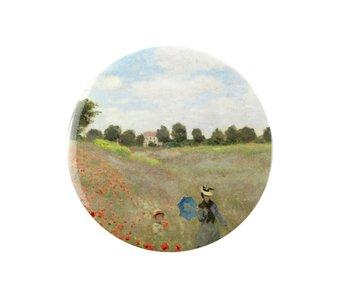 Espejo de bolsillo, Ø 80 mm, Monet, campo con amapolas