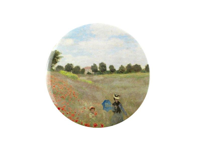 Taschenspiegel, Ø 80 mm, Monet, Feld mit Mohnblumen