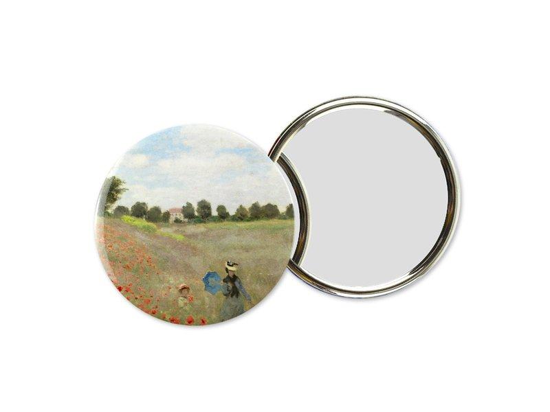 spiegel groot, Ø 80 mm, Monet, veld met klaprozen