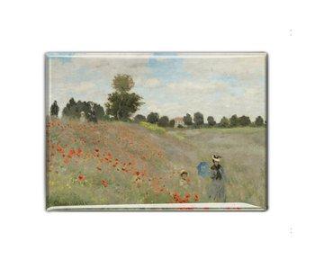 Aimant de réfrigérateur, champ avec coquelicots, Monet