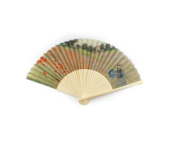 Waaier, bamboo, Monet, Veld met klaprozen