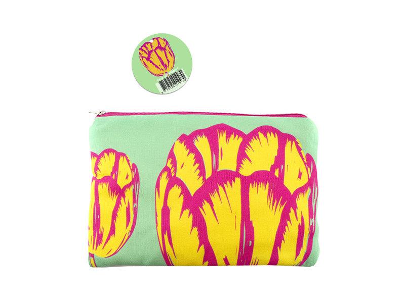 Estuche para lápices / neceser, tulipanes línea Pop-art verde