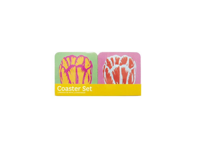 Coasters , Set van 4, Tulip Pop Line
