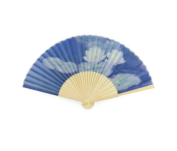 Ventilador, bambú, Monet, nenúfares en la luz del atardecer
