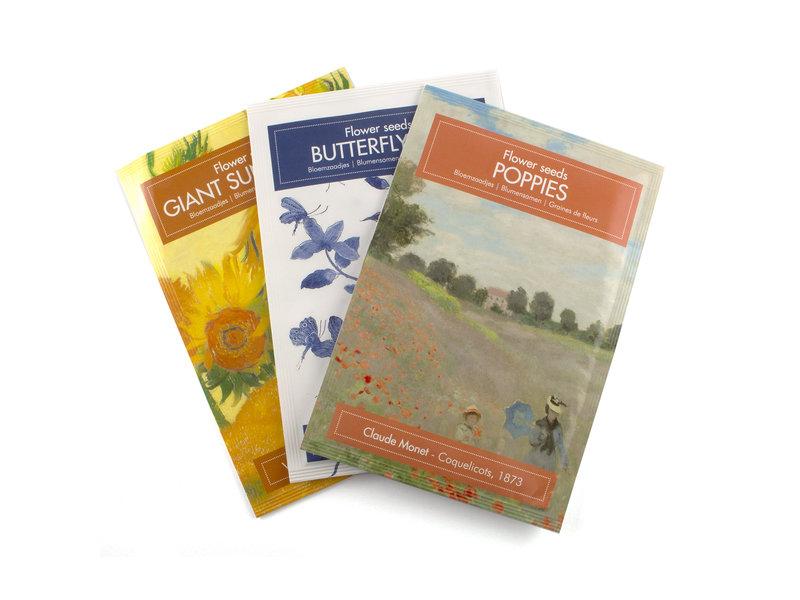 Postkaart zaad zakje, Klaprozen, Monet