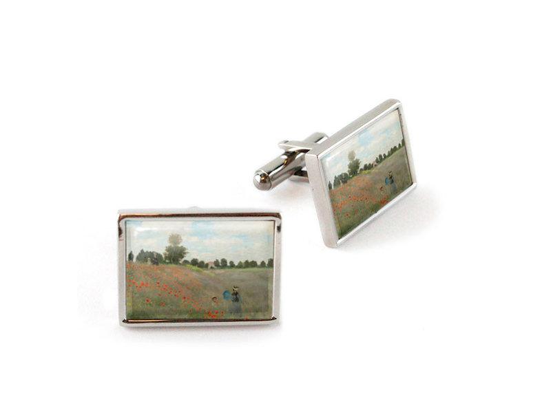 Cufflinks, Field of poppies, Monet