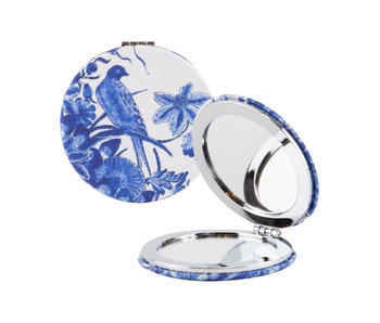 Folding pocket mirror, Delft Blue birds
