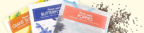 Tarjeta postal de semillas de flores