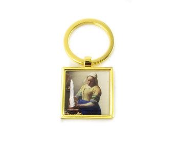 Sleutelhanger SQ, goudkleurig metaal, Melkmeid Vermeer